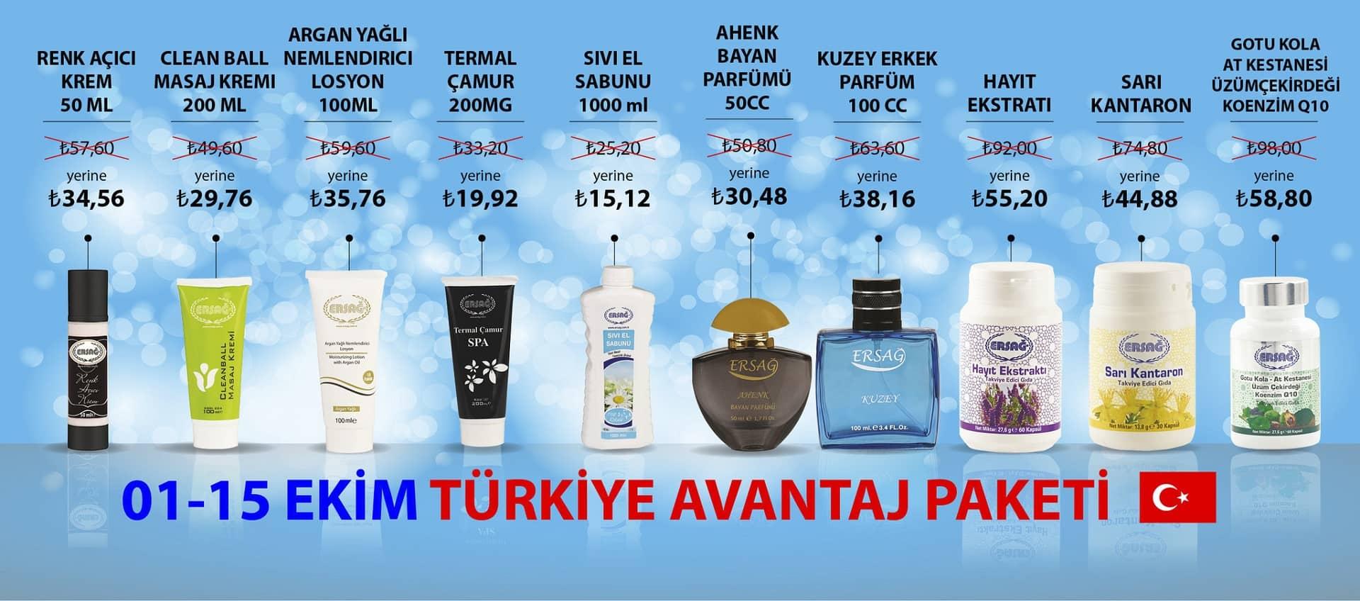 Ersağ 01 - 15 Ekim 2018 Türkiye Avantaj Paketi