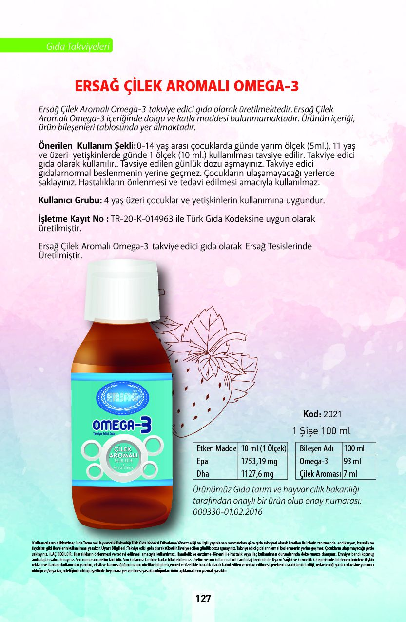 Ersağ Çilek Aromalı Omega 3