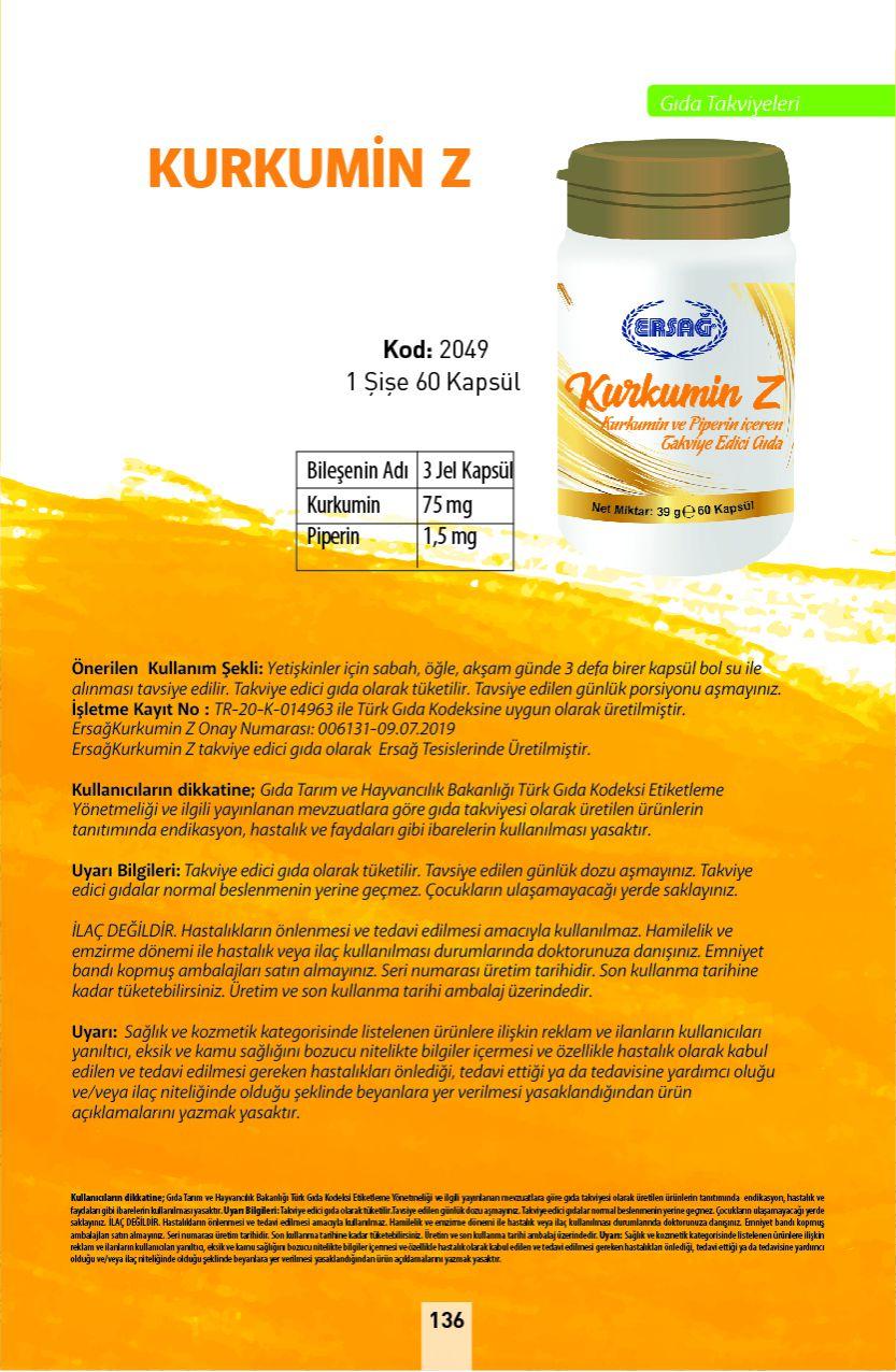 Ersağ Kalsiyum, Magnezyum, Çinko, D Vitamini
