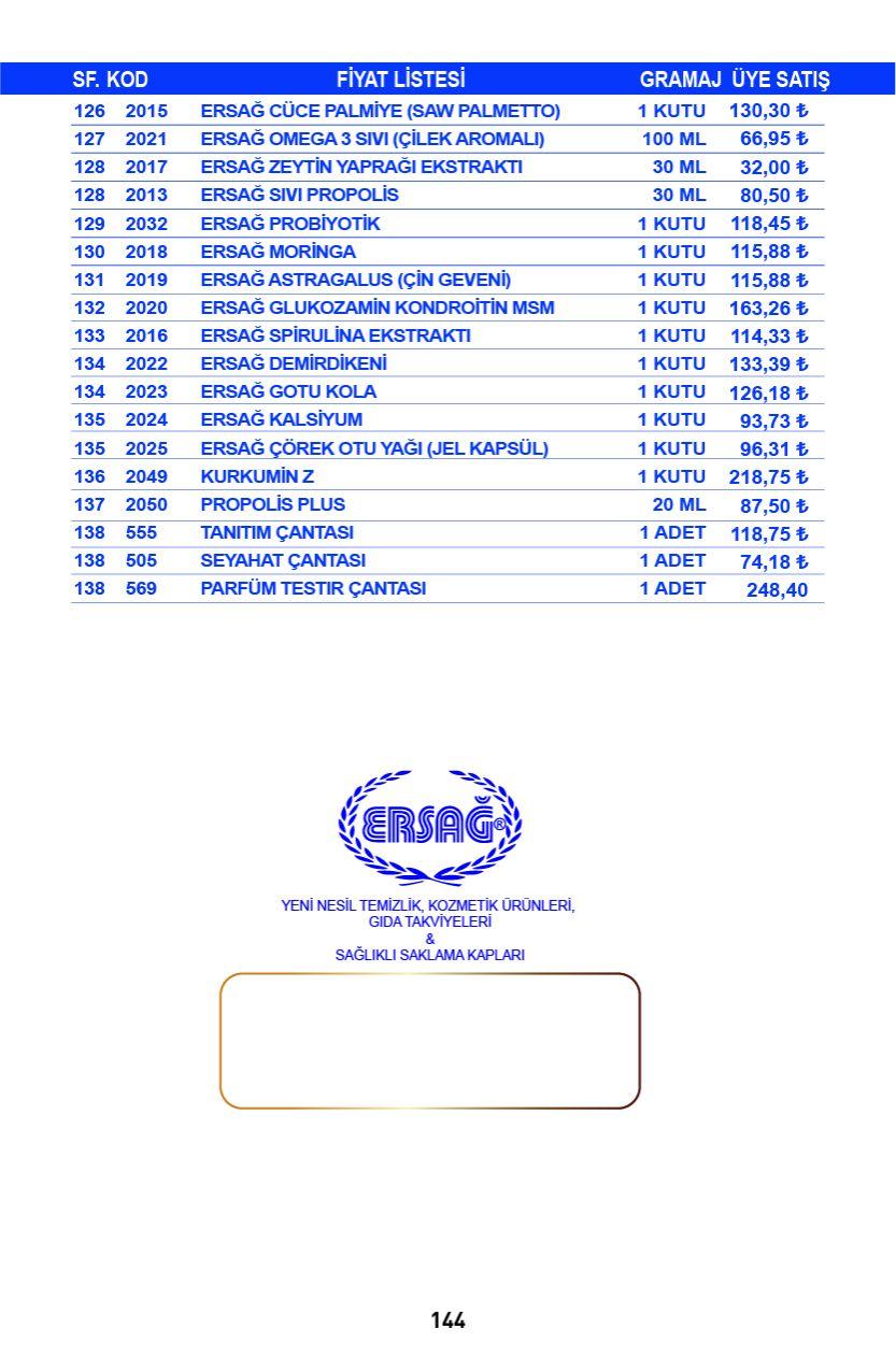 Ersağ Katalog Sayfa 145